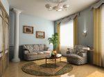 Серо-золотистый интерьер современной гостиной