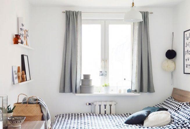Серые короткие однотонные шторы
