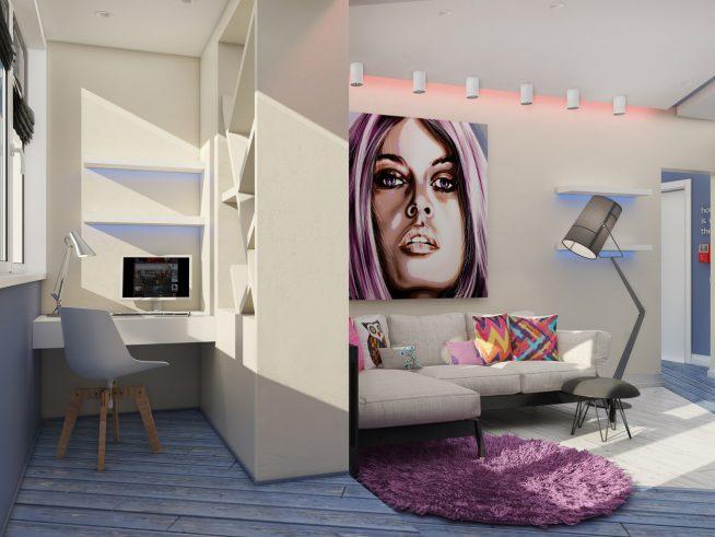 Комната, разделённая на две зоны