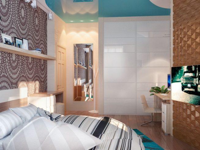 Спальня с рабочей зоной у встроенного шкафа