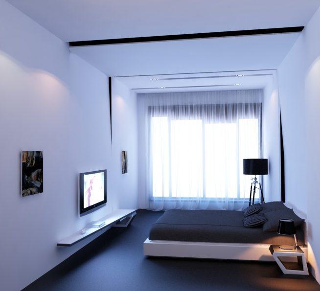 Большое окно в комнате в стиле минимализм