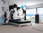Бело-чёрная комната для подростка с акцентной стеной