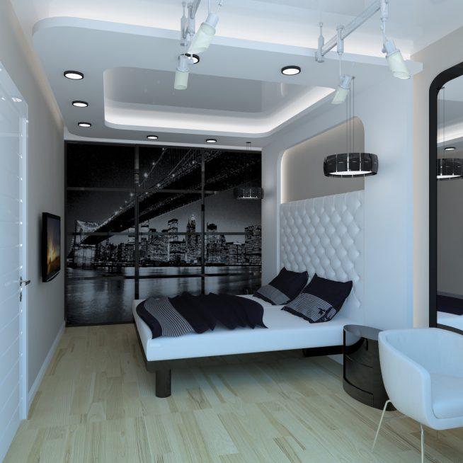 Бело-чёрная комната для подростка