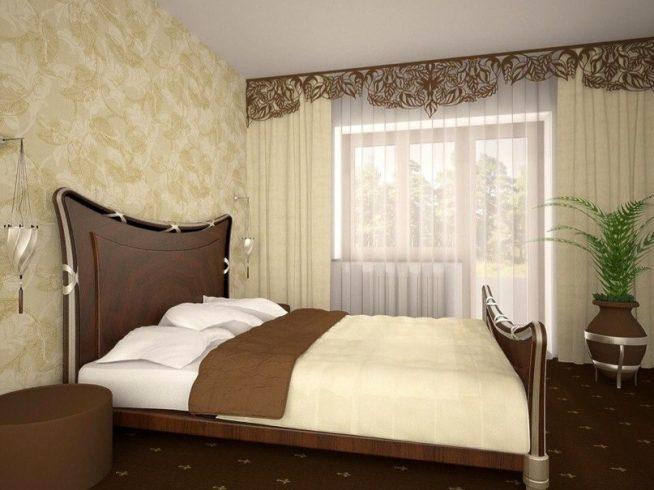 Сочетание бежевого и коричневого в современной спальне