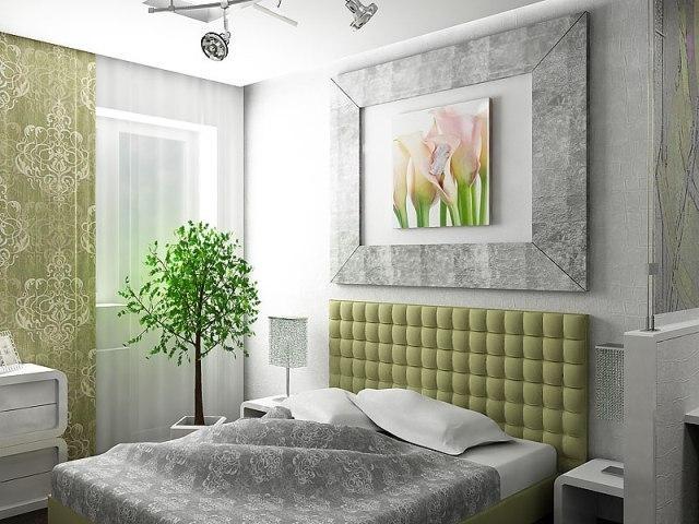 Серо-зелёная спальня
