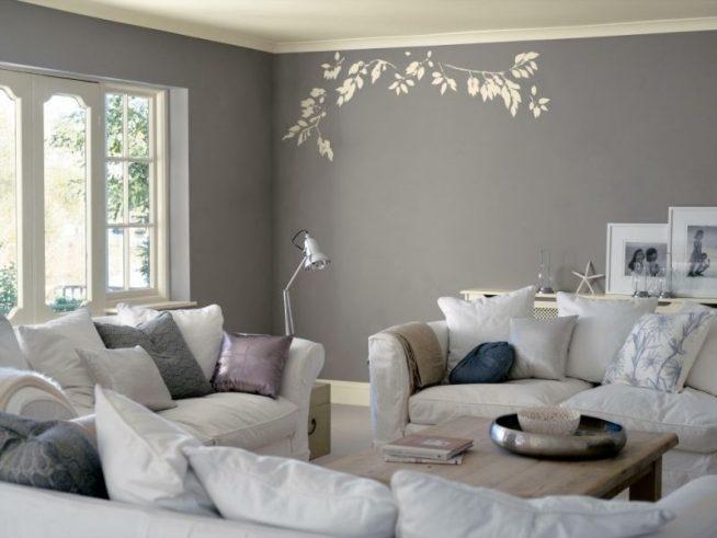 Светло-серый интерьер гостиной