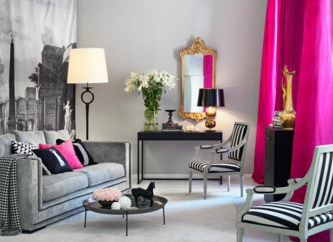 Серый цвет в обстановке гостиной