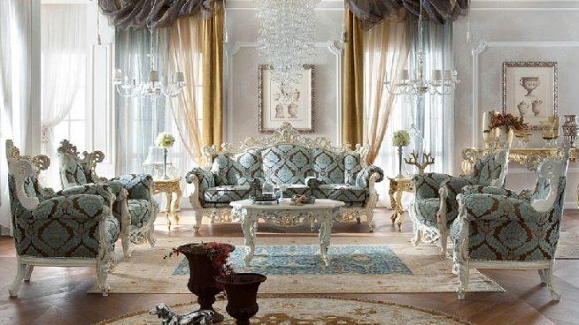 Голубой интерьер гостиной барокко