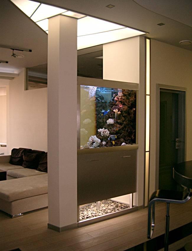 Аквариум на совмещённой с гостиной кухне