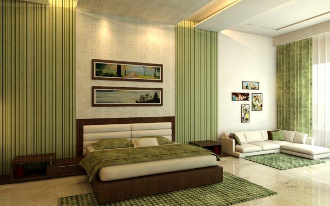 Болотный текстиль в интерьере спальни