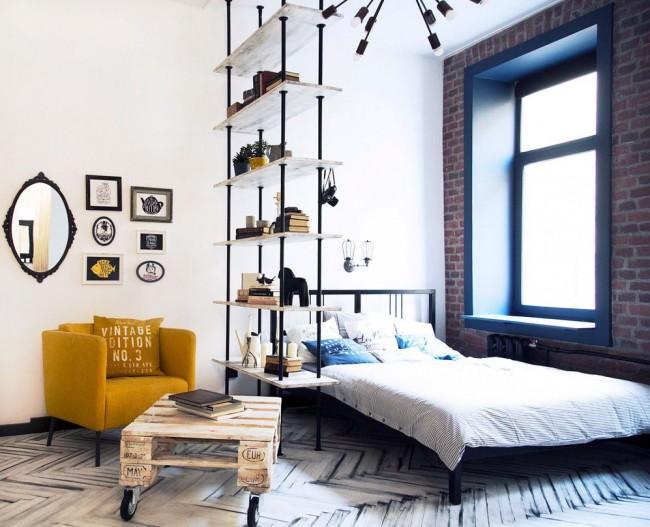 Дизайн гостиной и спальни в стиле лофт