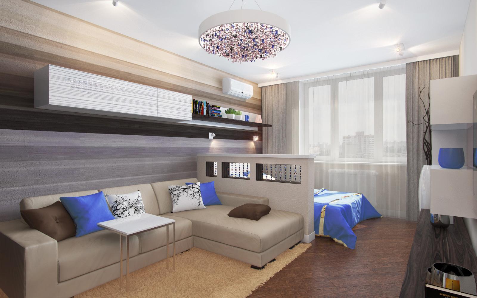 Как разместить спальню и гостиную в одной комнате