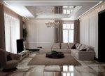 Бежевый интерьер гостиной в стиле современная классика