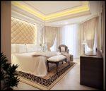 Интерьер спальни в стиле современная классика с оригинальной обивкой стен и потолочной подсветкой