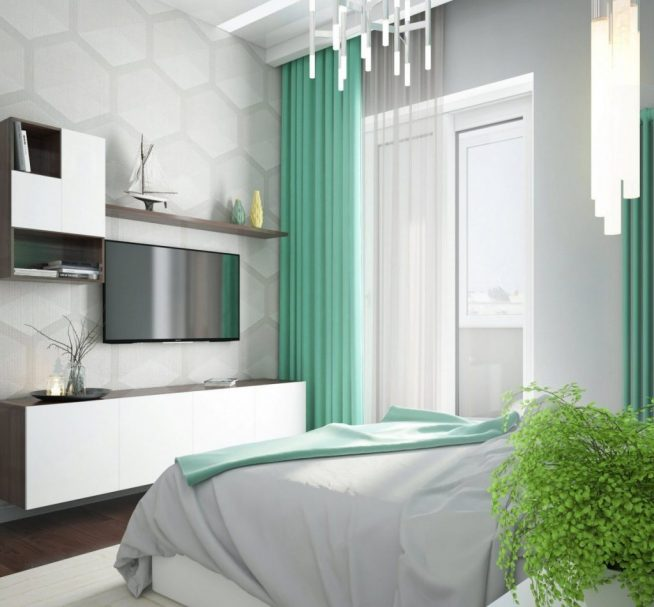 Мятные шторы в спальне