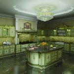 Кухня барокко в зелёном оформлении