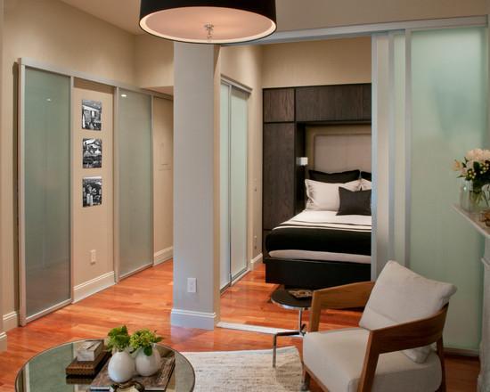 Совмещенная спальня с гостиной
