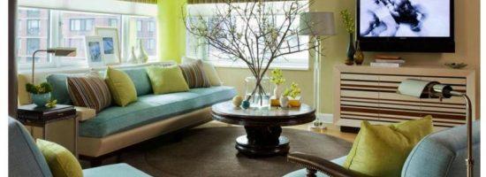 Стильный салатово-голубой интерьер