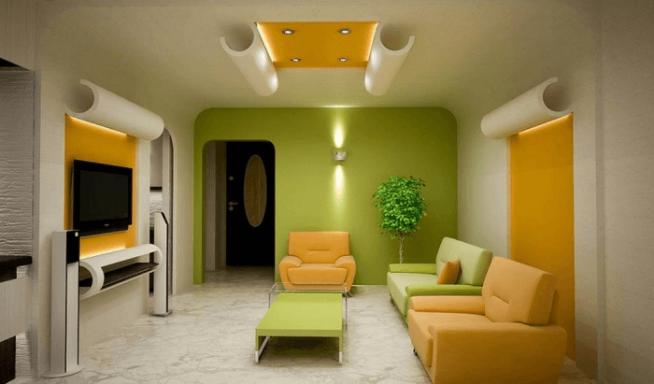 Пример комбинирования обое в интерьере гостиной