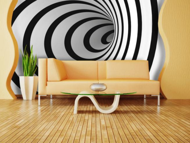 Комбинирование обоев с объемным рисунком в гостиной
