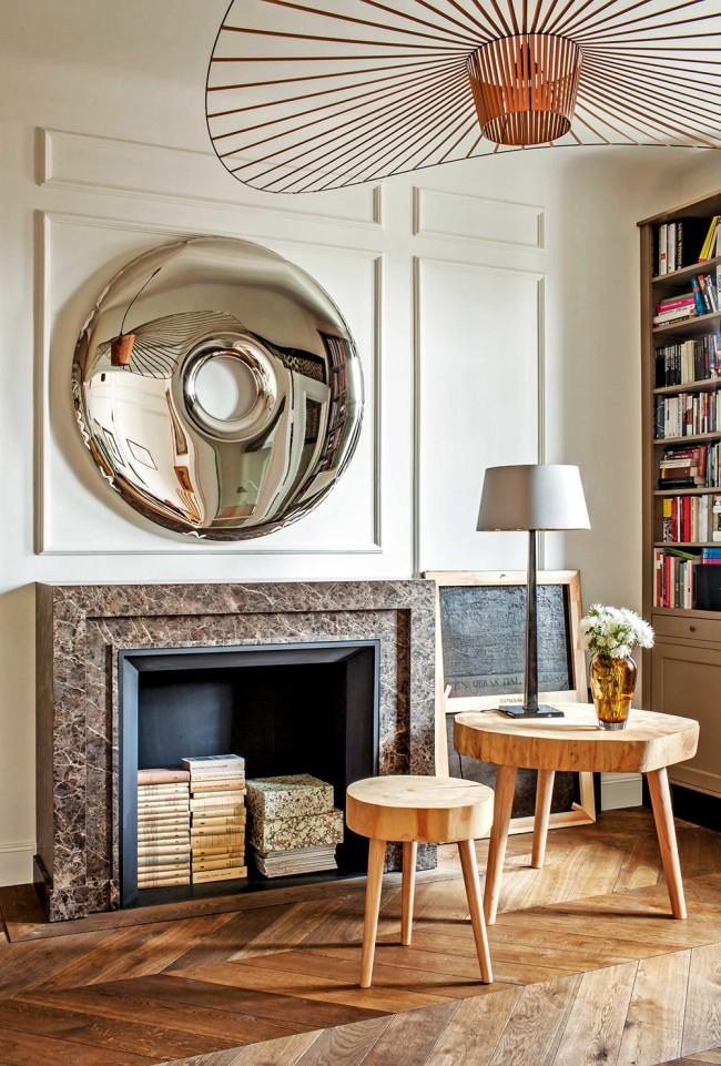 Фальш-камин в дизайне гостиной