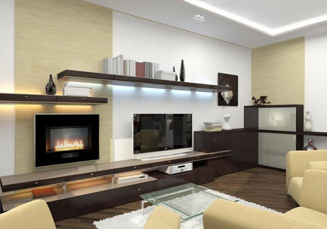 Гостиная в стиле минимализм с камином