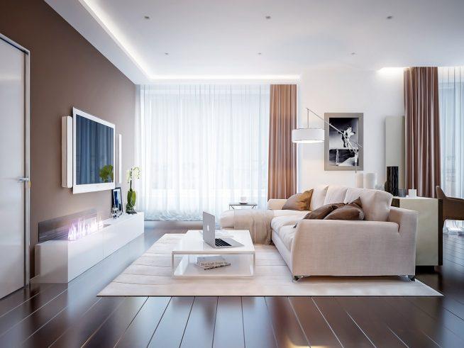 Дизайн просторной гостиной с электрокамином