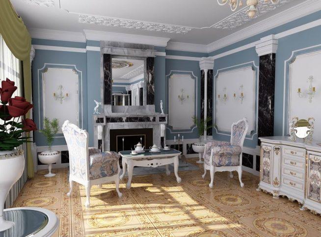 Камень в классическом интерьере гостиной с камином