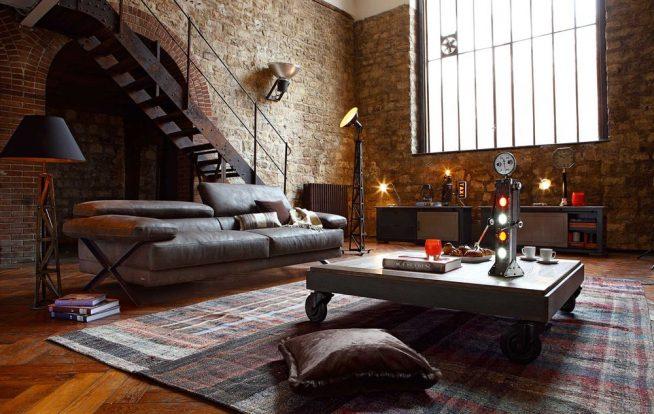 Дизайн гостиной в стиле лофт с кирпичными стенами