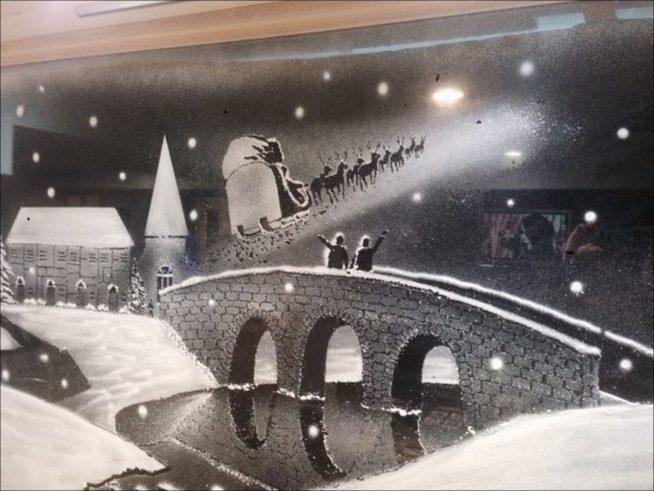 Рисование на стекле искусственным снегом