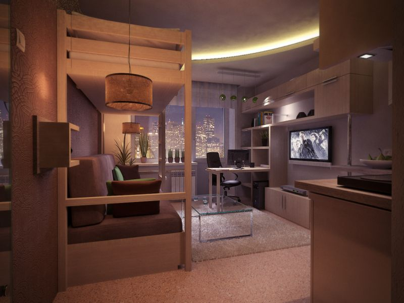 Идеи дизайна однокомнатной квартиры 18 кв. м