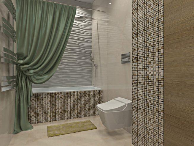 Тканевая штора в интерьере ванной комнаты