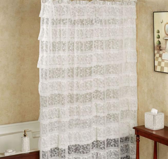 Оформление ванной комнаты шторой из текстиля
