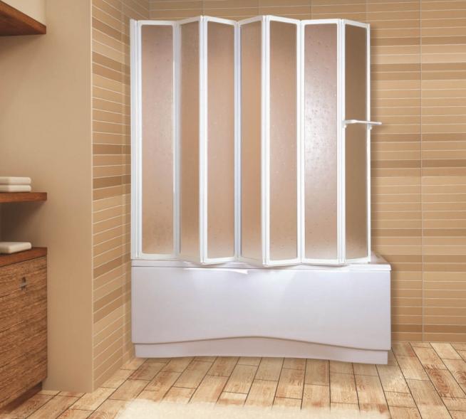 Пластиковая шторка для ванны с дверцами гармошкой