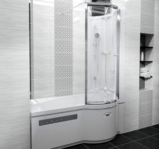 Вариант оформления и защиты ванны стеклом