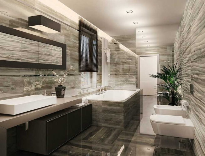 Вариант оформления окон в ванной комнате