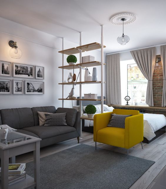 Интерьер гостиной с выделенной спальной зоной