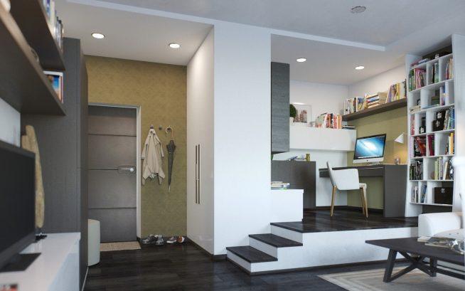Рабочее место на подиуме в гостиной однокомнатной квартиры