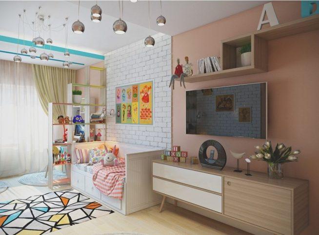 Зонирование комнаты с детским уголком