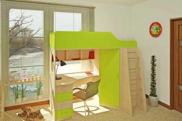 Кровать-чердак с рабочим местом для ребёнка