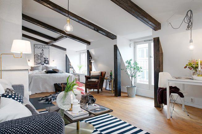 Стильный дизайн мансардной однокомнатной квартиры