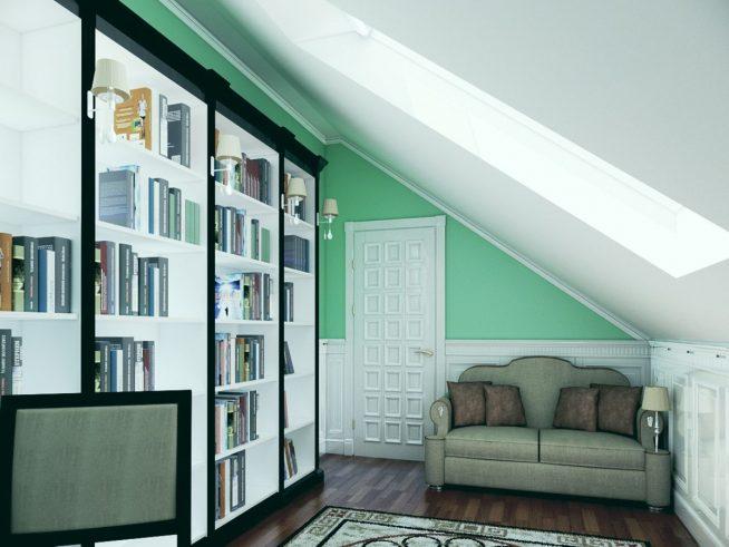 Встроенная библиотека в мансардном помещении