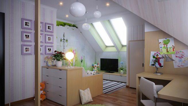 Зона детского уголка, отделённая удобным диваном с комодом