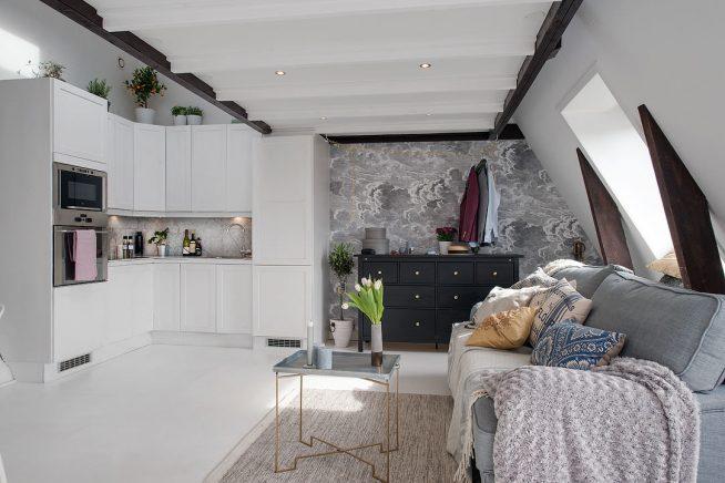 Дизайн квартиры-студии в мансарде
