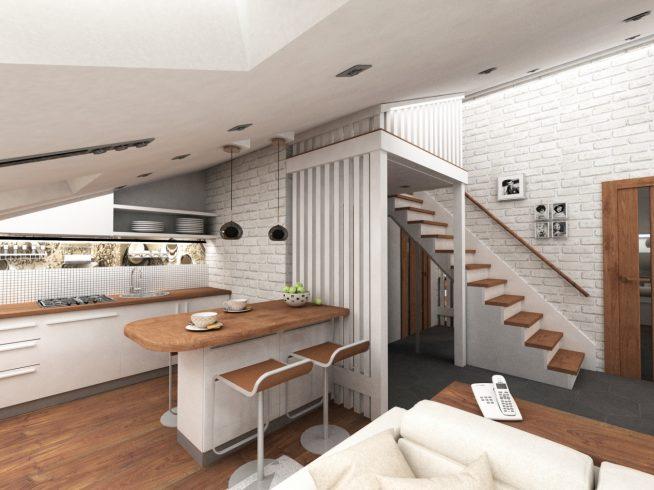 Дизайн кухни в небольшой мансардной квартире