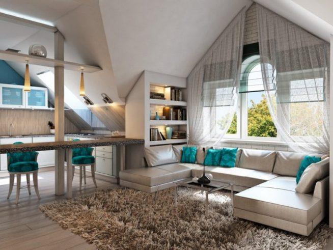 Вариант разделения гостиной и кухни в мансарде