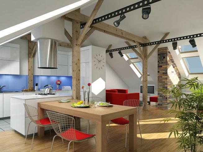 Удобное освещение кухонной зоны в мансарде