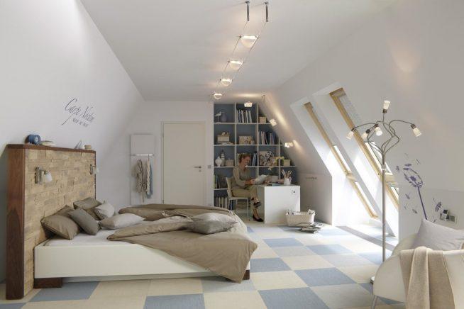 Возможный вариант освещения однокомнатной квартиры в мансарде