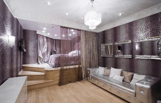 Спальня с кроватью на подиуме