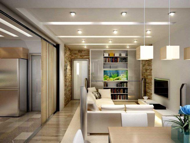 Дверь на роликах между кухней и гостиной